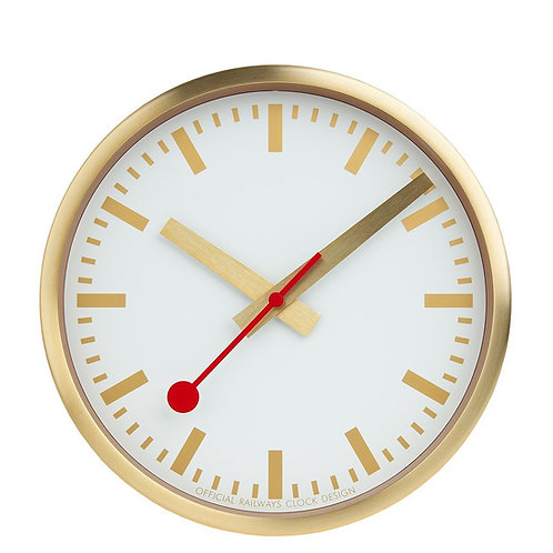 Mondaine wall clock, gold metal, white face, gold hands, red second hand, front view
