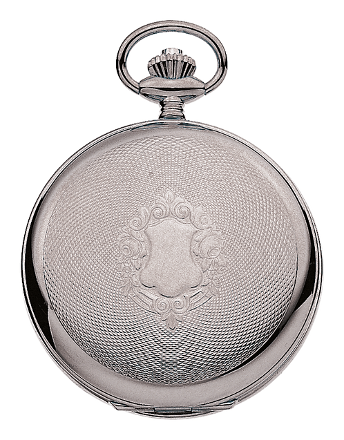 Aérowatch pocket watch lid engraved, steel case, mechanical 1 day