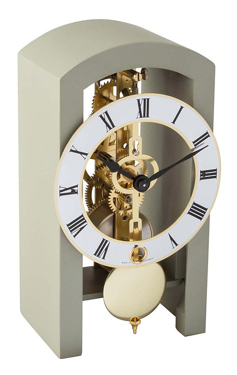Hermle skeleton clock, beige wood frame roman numerals, front