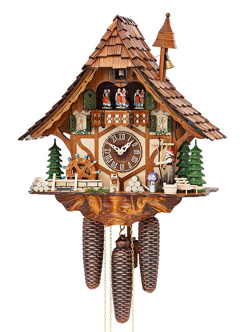 Hekas 8 days Cuckoo clock, music, Dancers, Girl, Bell, Mill Wheel, front view