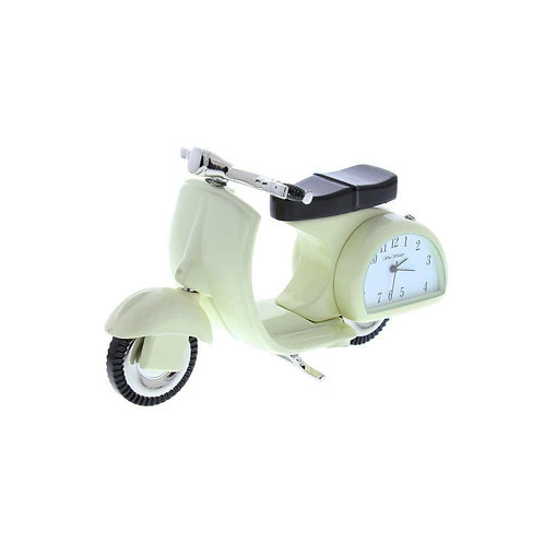 Cream scooter, small clock, desk clock, side view