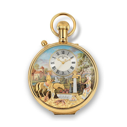 Reuge gold pocket watch with music, face automaton horse drinking in a fountain, front