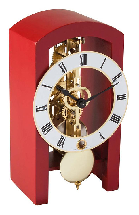 Hermle skeleton clock, red wood frame roman numerals, front