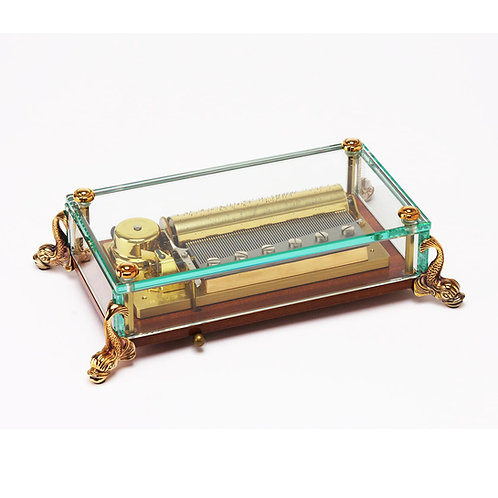 Reuge, gold transparent music box, dolphins figues, 3 melodies 72 blades