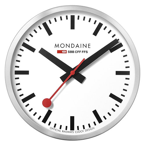 Mondaine big wall clock, metal, white face, black hands, red second hand, front view