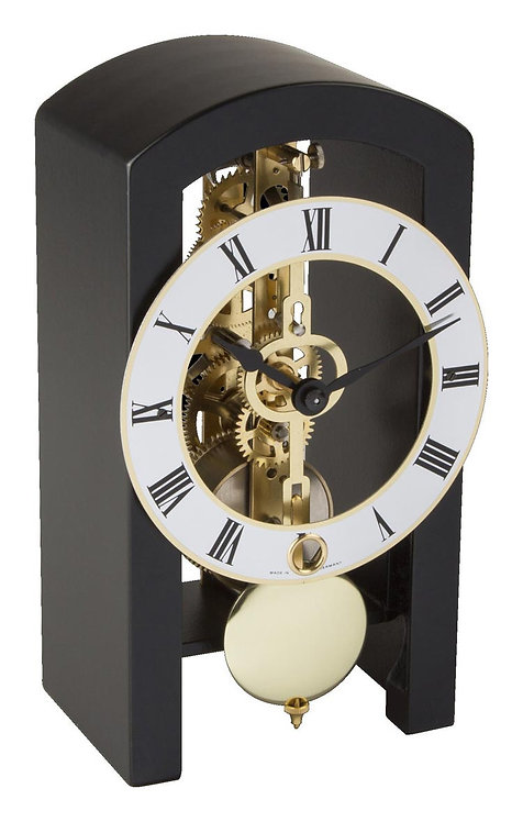 Hermle skeleton clock, black wood frame roman numerals, front