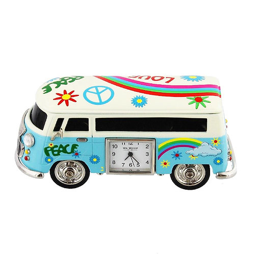 Blue VW camper, flower, peace, love, small clock, desk clock, front view