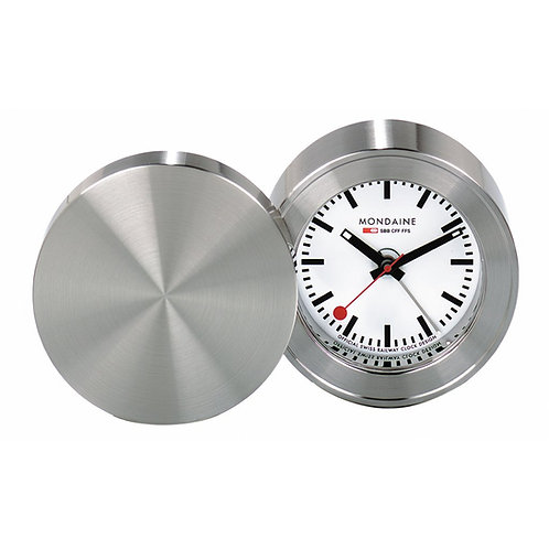 Mondaine travel alarm clock metal