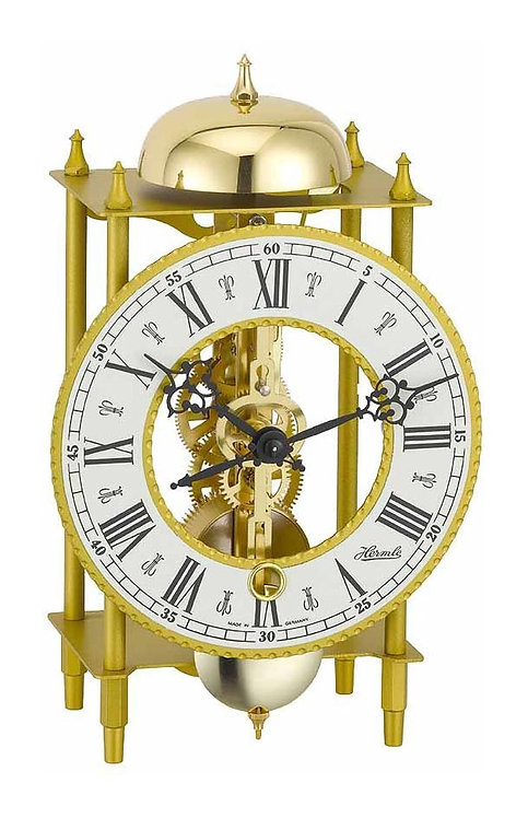 Hermle golden skeleton mechanical clock, golden metallic frame, roman numerals, front