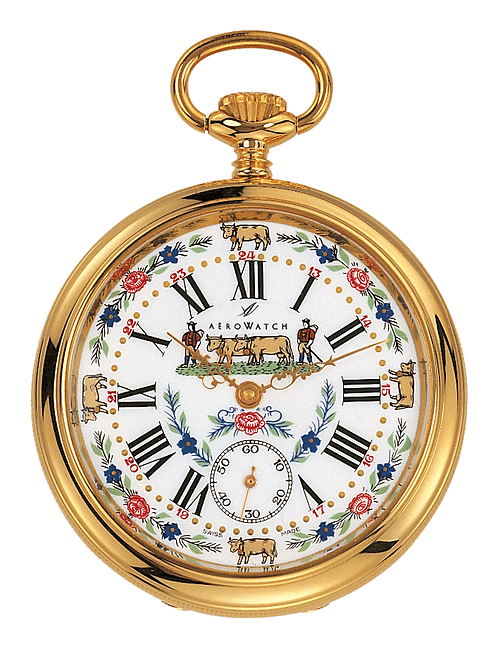 Aérowatch pocket watch, steel case gold plated white face cow and flowers small second roman numerals, mechanical 1 day