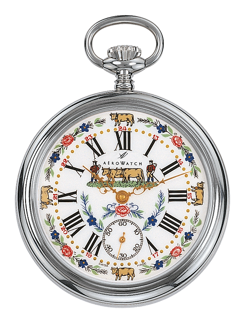 Aérowatch pocket watch, steel case white face cow and flowers small second roman numerals, mechanical 1 day