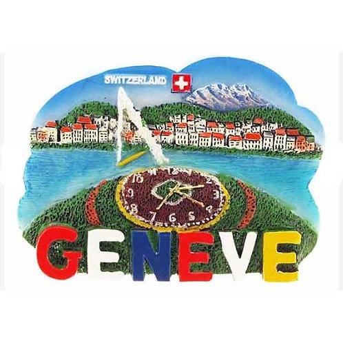 Aimant de Genève horloge fleurie