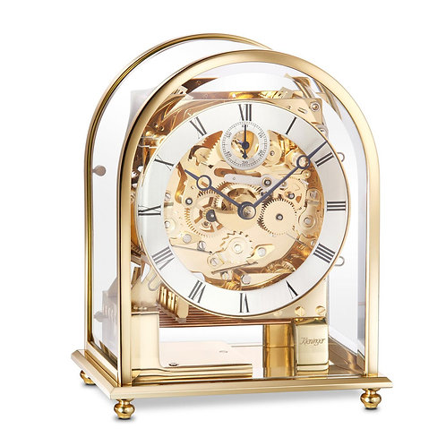 Kieninger Mantel clock gold skeleton, Metal and arched glass case, 8 days movement