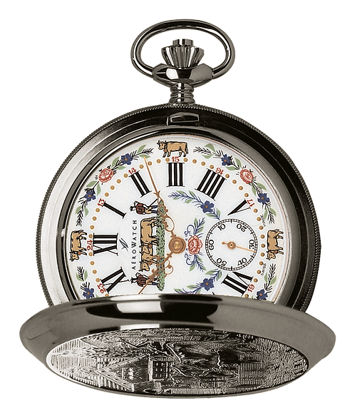 Aérowatch pocket watch lid, steel case white face cow and flowers small second roman numerals, mechanical 1 day
