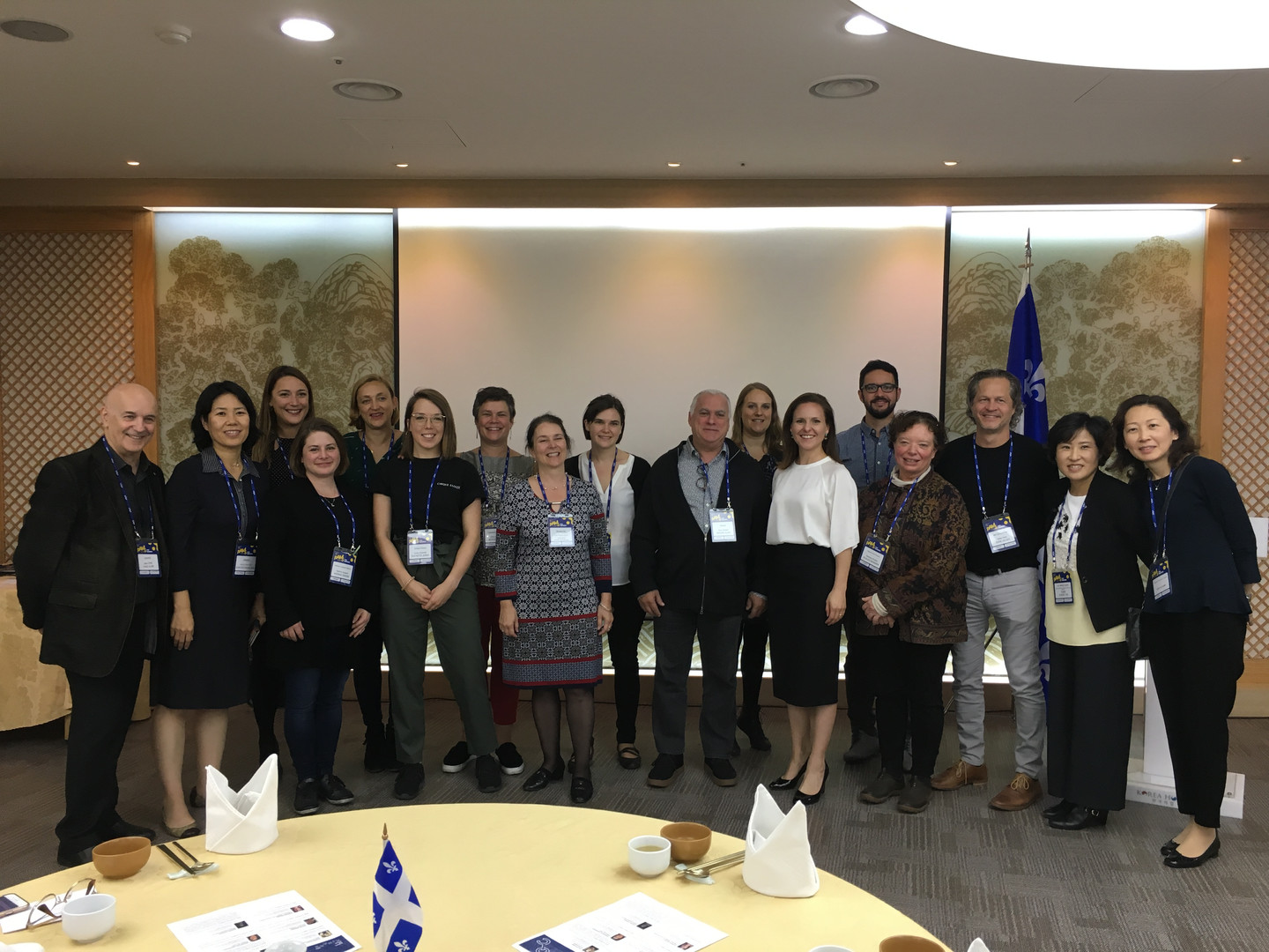 Barbara and the Québec deleguees at the PAMS conference in Korea 2018