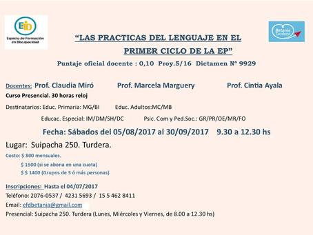 Curso con puntaje docente: Las prácticas del lenguaje en el primer ciclo de la EP