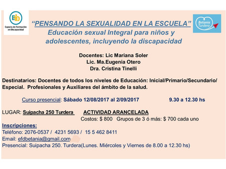 Curso con puntaje docente: Pensando la Sexualidad en la Escuela.