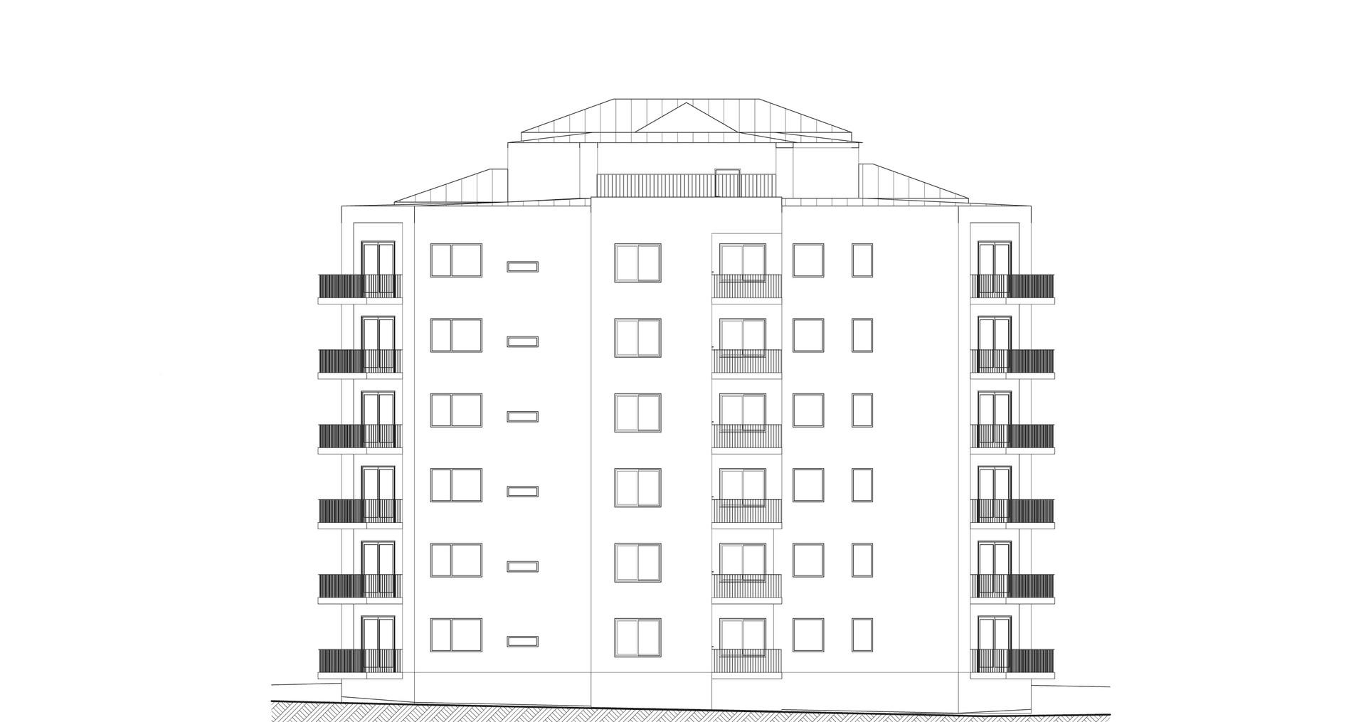 Fasad sydost med takterrass på plan 7.