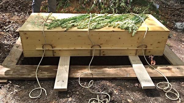 casket in green burial