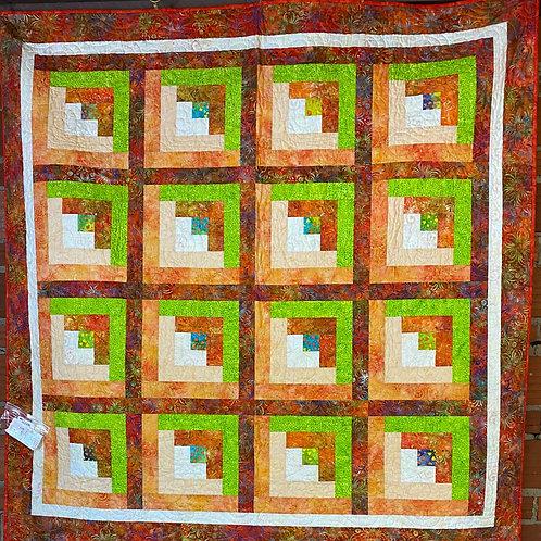 Batik orange/lime green