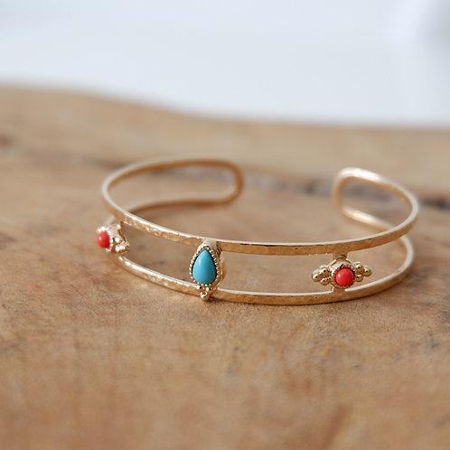 Bracelet jonc martelésertiturquoise & corail