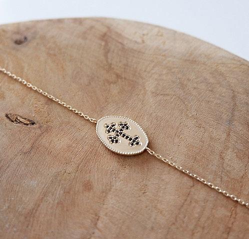 Bracelet croix strass noirs