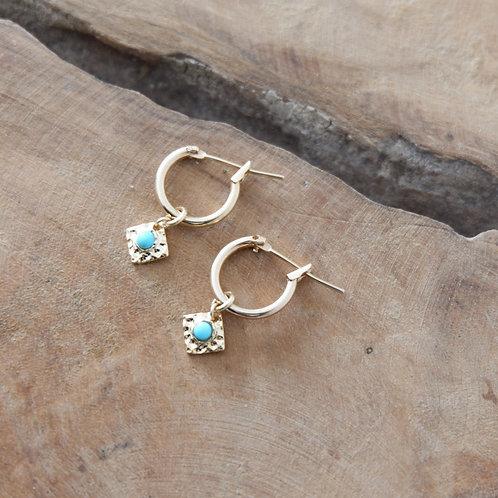 Boucled'oreillelosange martelé turquoise