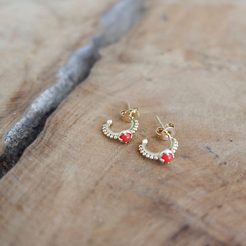 Petites créolesboules pierre rouge