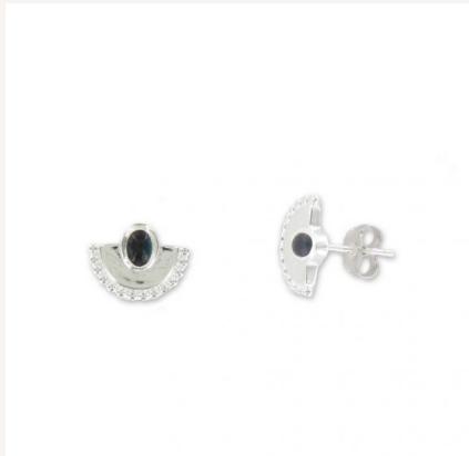 boucles d'oreilles argent pierre noire