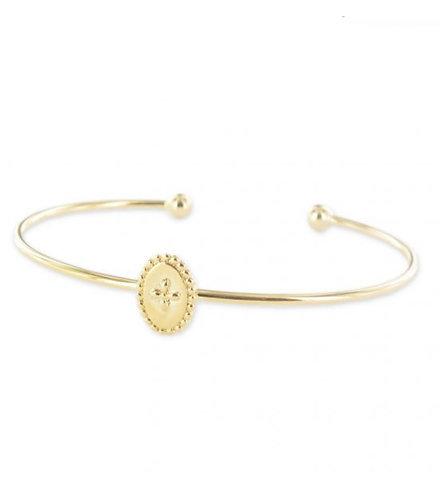 Bracelet jonc médaillon petite croix