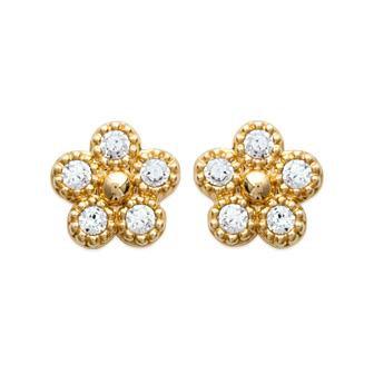 Boucles d'oreilles petites fleurs strass CZ