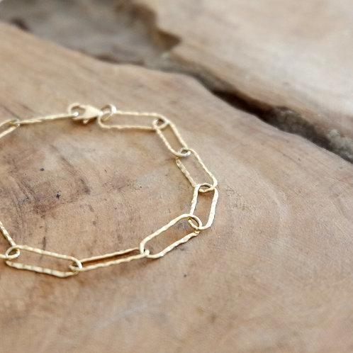 Bracelet maille rectangle martelée