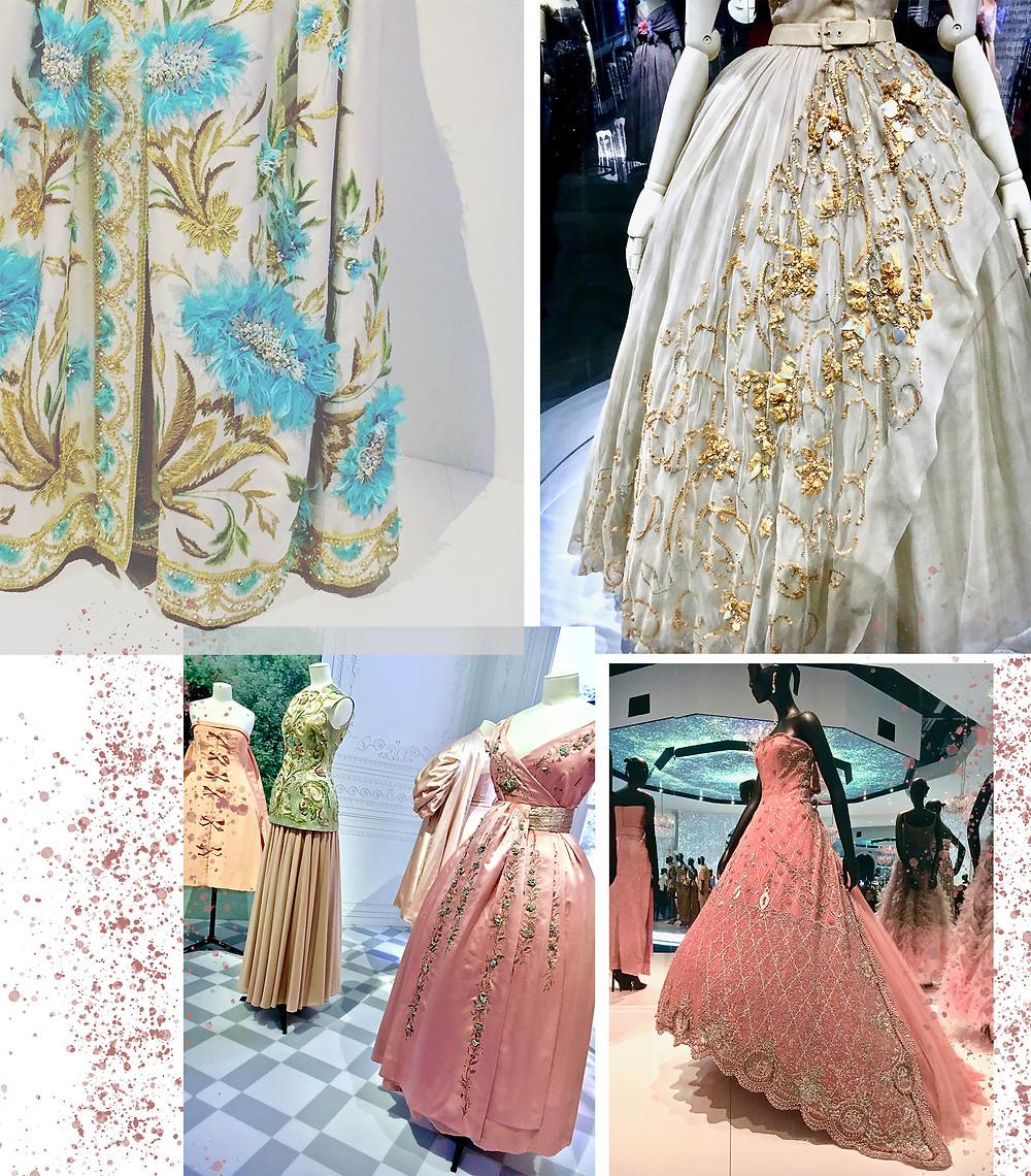 Embellished details on Dior dresses
