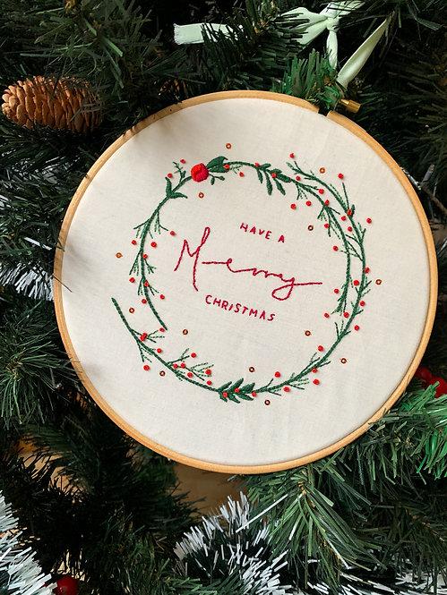 'Merry Christmas' Embroidery Hoop