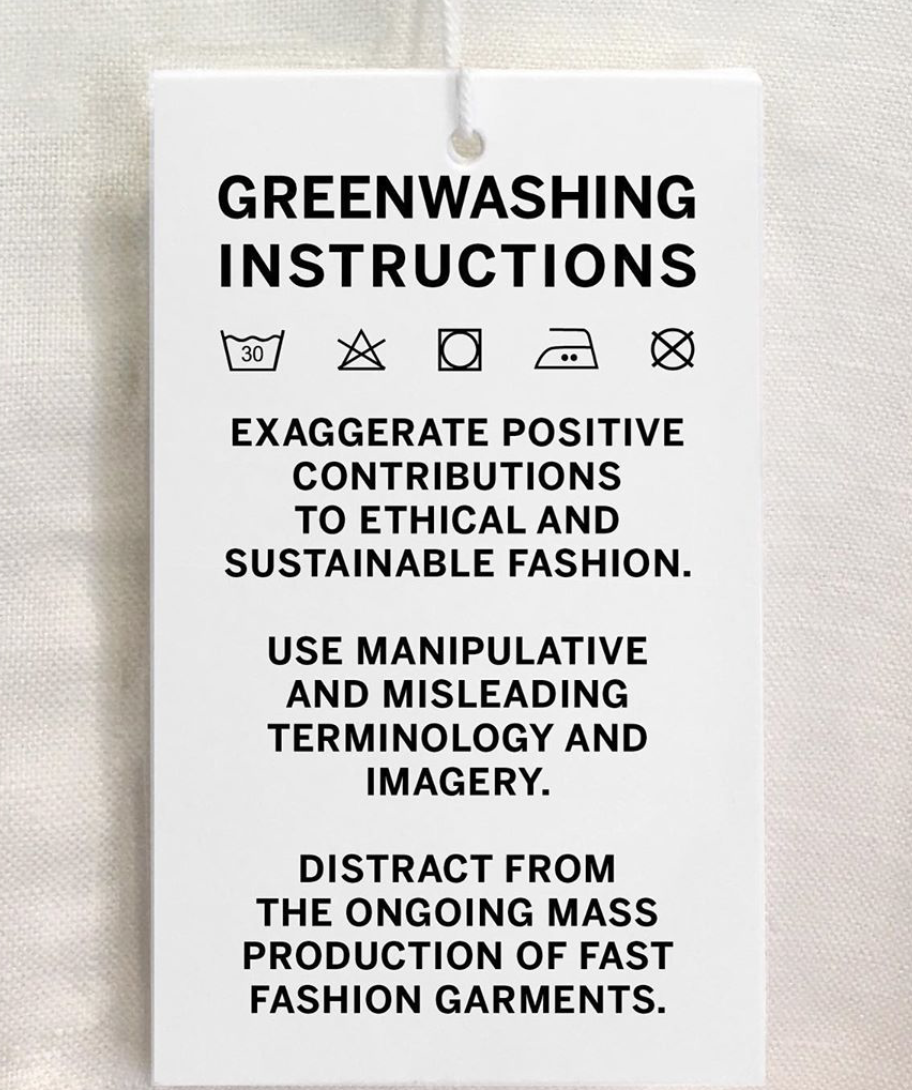 Clothing tag with advice for avoiding greenwashing