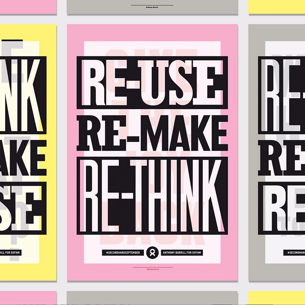 Quote reading 're-use, re-make, re-think'