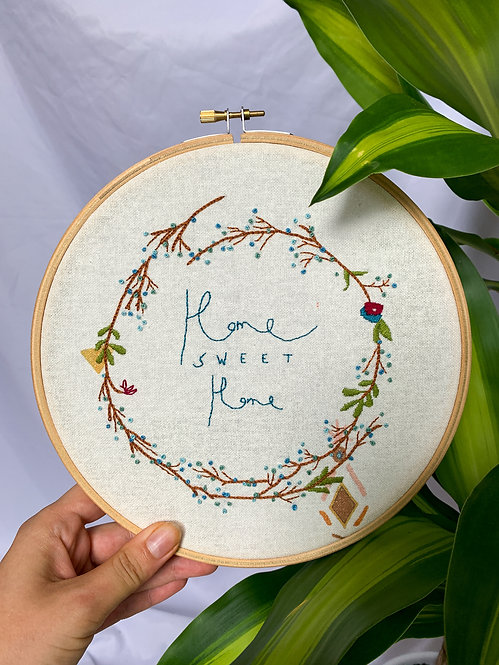'Home Sweet Home' Embroidery Hoop