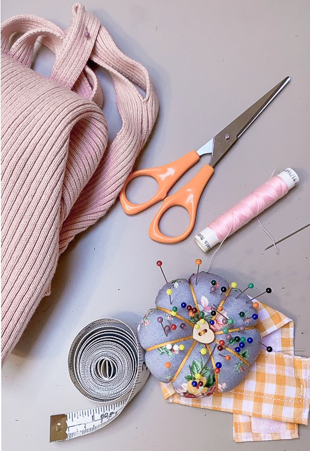 Sewing supplies for mending a rip in your clothes