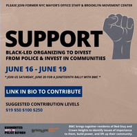 Fundraiser flyer for Brooklyn Movement Center & CPD