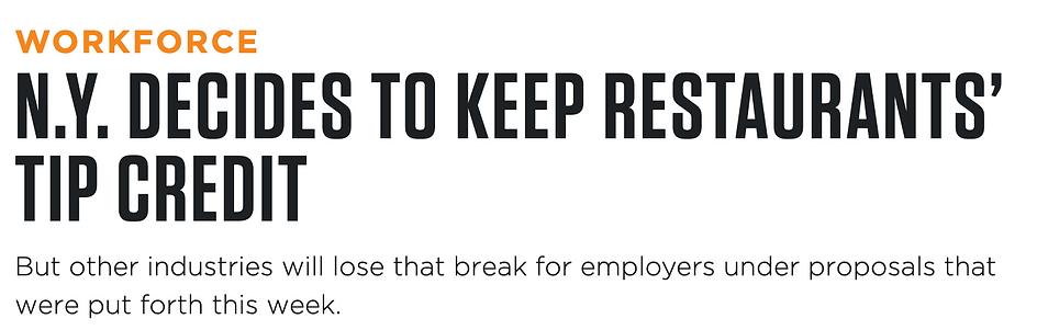 N.Y. Decides to keep restaurants' tip credit
