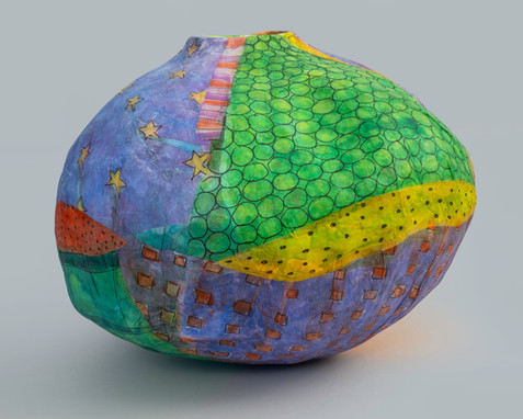 """Paper mache, mulberry paper and watercolor, 15"""" X 11"""", 2021"""
