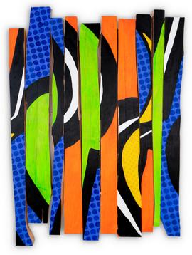 "19"" X 28"", acrylic paint on broken wood"