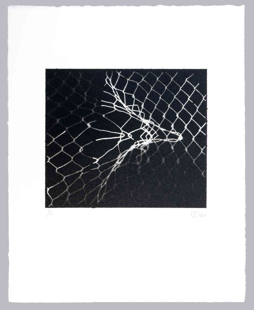 "As we explored Albers' work, ""weavings"" started springing up around us.  The original image for this print was a damaged chain link fence.  The print is spray paint over a 3D printed mask."