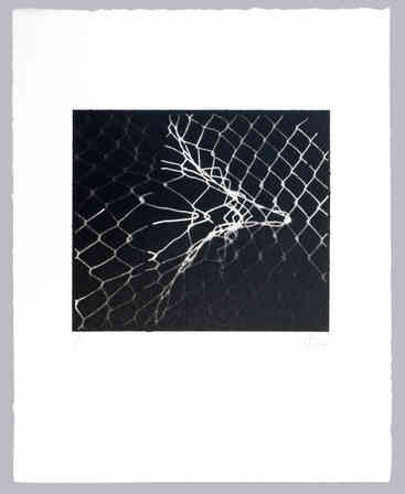 """As we explored Albers' work, """"weavings"""" started springing up around us.  The original image for this print was a damaged chain link fence.  The print is spray paint over a 3D printed mask."""