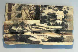 """Archival pigment offset on broken wood, with a 3D printed element.  19"""" X 12"""", 2020"""