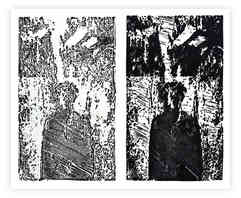 """Relief prints from 3D printed plates, 3.5"""" X 5"""" each, 2017"""