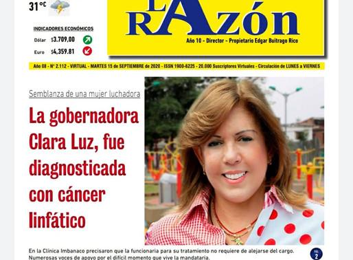 Edición Digital:  La gobernadora Clara Luz, fue diagnosticada con cáncer linfático