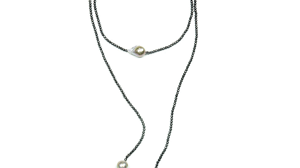 3 South Sea pearls lariat with hematite stone beads