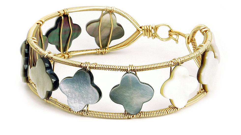 Mother of pearl elements and 14kt gold filled hand wired bracelet.