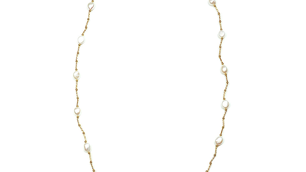 Freshwater pearl long gold plated necklace
